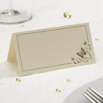 Elegant Butterfly Place Cards - Ivory & Gold (50)